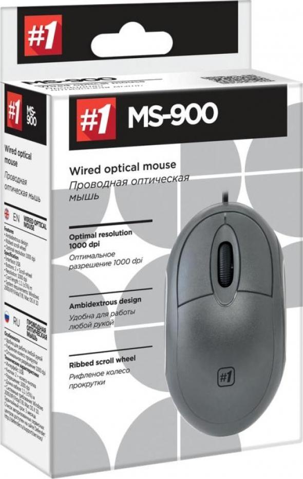 Мышь DEFENDER MS-900, USB, проводная, серая