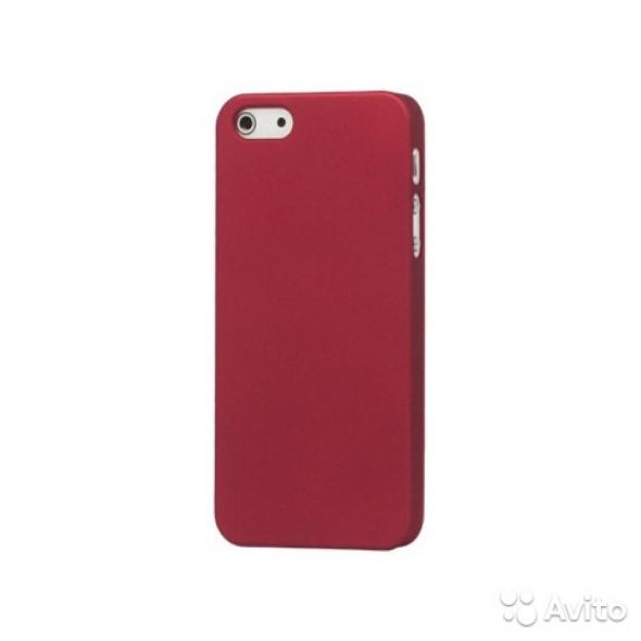чехол софт тач iPhone 5 4D (бордовый)