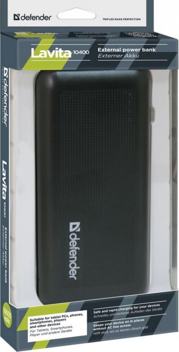 резервная батарея ЗУ DEFENDER Lavita 10400. 10000 mAh 1usb 2A