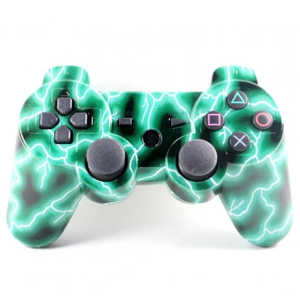 джойстик для Sony PLAYSTATION 3 (сони плейстейшн 3) DUALSHOCK 3 молнии зеленые