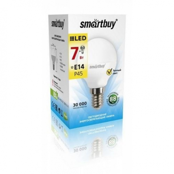 Лампа  ( лампочка )  светодиодная SMART BUY  Р45-7W-220 V-3000K-E14 ( глоб, теплый свет)