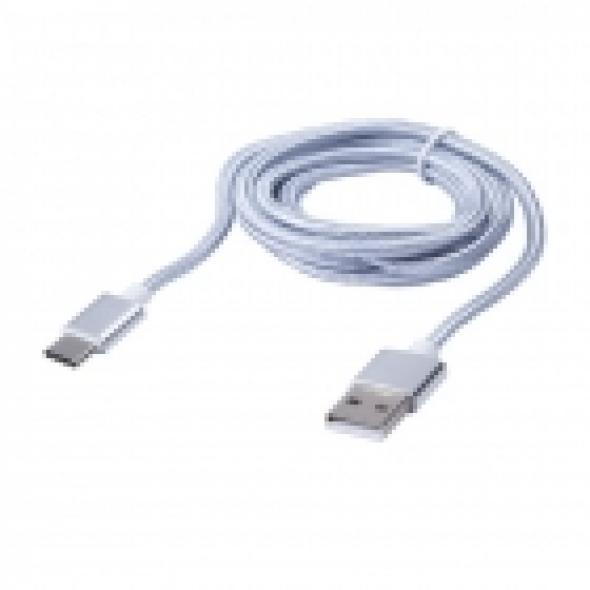 Дата - кабель BLAST BMC-416, для USB 3.1 Type-C, серебро, тканевая оплетка