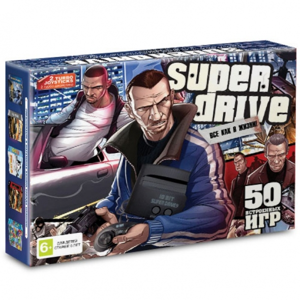 Игровая приставка sega super drive  gta  50 in 1 ( сега супер драйв гта )