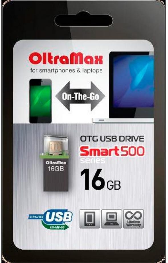 Флеш-накопитель USB 16 gb OltraMax 500 smart графитовый