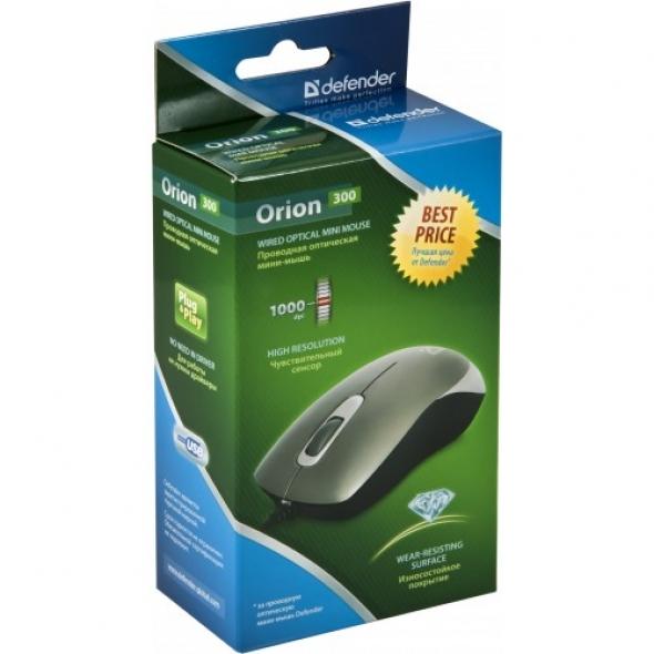 Мышь проводная DEFENDER Orion 300, мини, чёрная, USB
