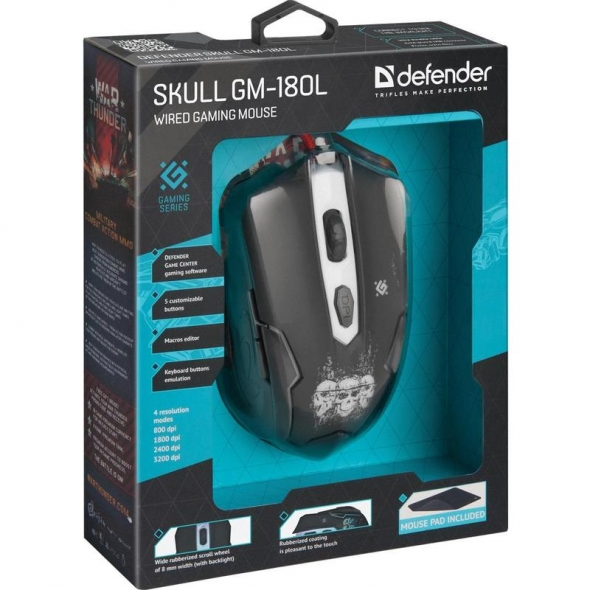 Мышь DEFENDER Skull GM-180L, USB, проводная