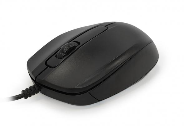 Мышь CBR CM-117, черная, оптика, 1200dpi, провод 1,15 м, USB