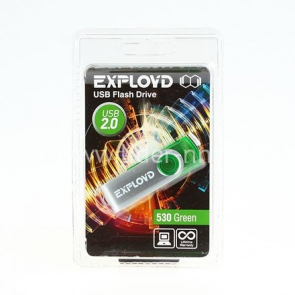 Флеш-накопитель USB  4GB  Exployd  530  зелёный
