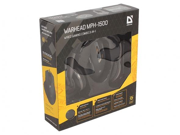 Набор DEFENDER Warhead MPH-1500 черный, мышь игровая +гарнитура+ковер