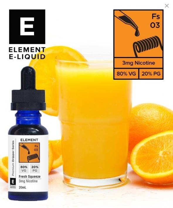 """Жидкость для Электронных сигарет """" Element E-liquid """" - Fresh Squeeze крепость 3 мг. емкость 20 мл."""