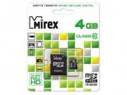карта памяти microsd 4 gb mirex class 10+sd адаптер