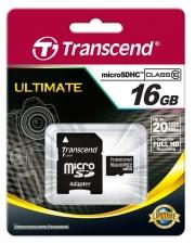 карта памяти MicroSD 16GB Transcend Class 10 +SD адаптер