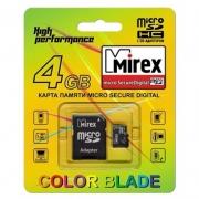 Micro sd карта 4 gb Mirex class 10+ Sd адаптер