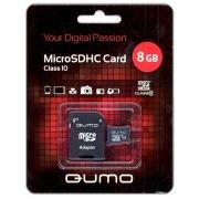 MicroSD 8GB Qumo class 10  с адаптером