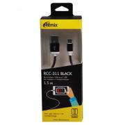 Кабель RITMIX RCC-311, черный, USB 2.0 - micro USB, тканевая оплетка, 1,5 м.
