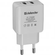Адаптер сетевой DEFENDER EPA-12, 2хUSB, 5V/2А