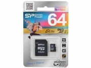 micro SD  (микро) 64 Gb sillicon + Sd адаптер