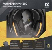 Набор DEFENDER Warhead MPH-1600 черный, мышь игровая +гарнитура+ковер