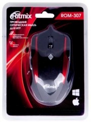 Мышь проводная RITMIX ROM-307, черная/красная