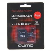 карта памяти microsd 4 gb Qumo class 10 +SD адаптер
