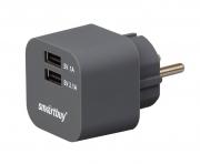 адаптер сетевой smartbuy volt графит 2хusb порта сила тока 3.1 (6 мес гарантии)