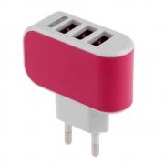 СЗУ адаптер 3 USB 3.1A розовый