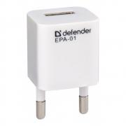 Адаптер сетевой DEFENDER EPA-01, белый, 1хUSB порт, 5V / 1A