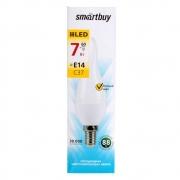 Лампа  ( лампочка )  светодиодная SMART BUY C37-7W-220V-3000K-E14 (свеча на ветру , теплый свет)