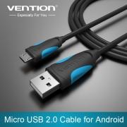 кабель USB-micro , 1 м. провод лапша VENTION (чёрный)