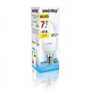 Лампа  ( лампочка )  светодиодная SMART BUY C37-7W-220V-3000K-E14 (свеча  , теплый свет)
