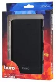 ЗУ Buro RA-25000 Li-Ion, 25000mAh, 2.1A+1A, черный/темно-серый, 2xUSB