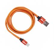 Кабель RITMIX RCC-415 Leather, оранжевый, USB - micro USB, 1 м.