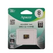 Карта памяти MicroSD  8GB  Apacer  Class 10 UHS-I (R/W 30/10 MB/s) без адаптера