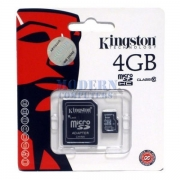 карта памяти microsd 4 gb kingston class 10+sd адаптер