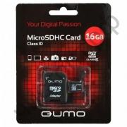 карта памяти microsd 16 gb Qumo class10 + sd адаптер
