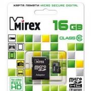 MicroSD 16GB Mirex class 10  с адаптером