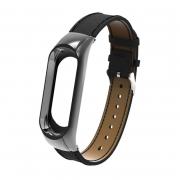 сменный браслет Xiaomi Mi Band 3 кожаный черный