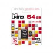 Карта памяти MicroSD  64GB  Mirex Class 10 UHS-I + SD адаптер