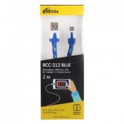 Кабель RITMIX RCC-212, голубой, USB 2.0 - micro USB, тканевая оплетка, 2 м.
