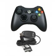 джойстик беспроводной  для Xbox 360 и для PC (ИксБокс 360) черный, неоригинал